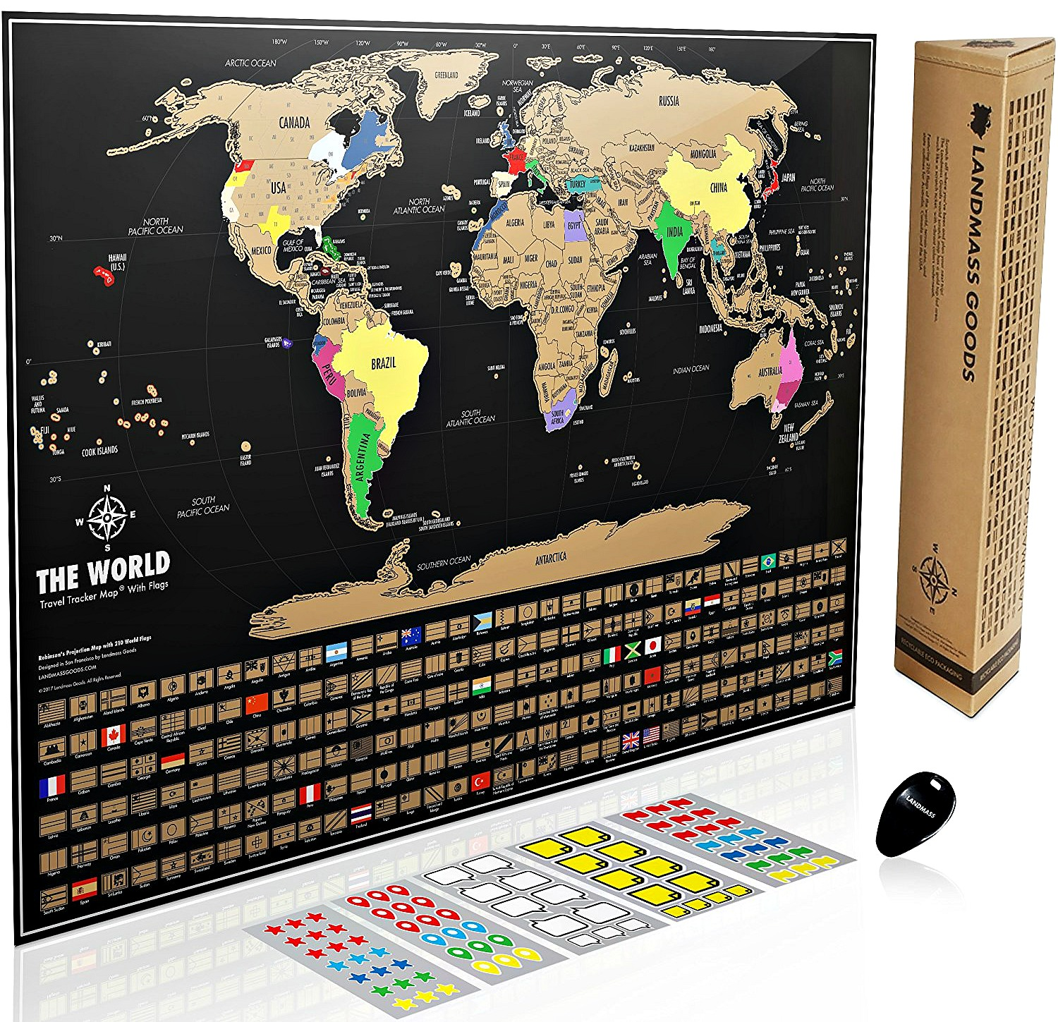 Landmass Scratch Off World Map Poster