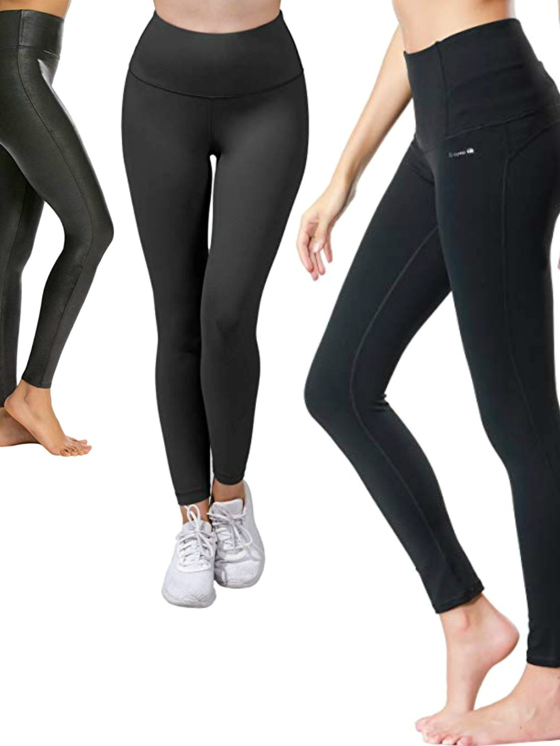 NEW Ladies Black Plain High Waist Stretchy Soft Leggings Tummy Control Plus Size